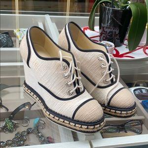 Chanel beige CC logo espadrille Wedge sneaker